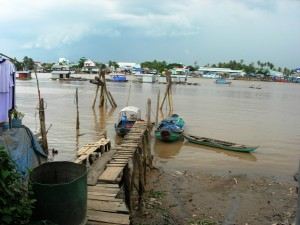 A dock on Tân Long Island on the Mekong Delta (2007).