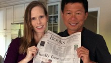 Michelle Robin La and Luong La hold the Santa Barbara News-Press featuring Catching Shrimp with Bare Hands.