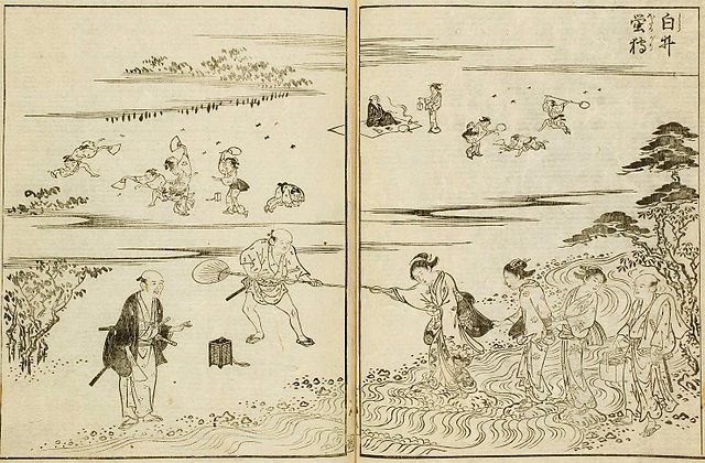 18th century Japanese drawing of people capturing fireflies
