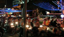 Traffic in downtown Saigon at night